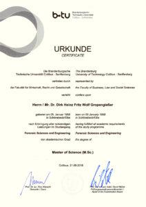Urkunde Master Of Science